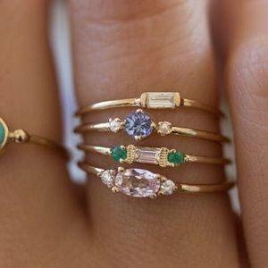Jewelry - New 4 Piece Gold Gemstone Midi Ring Set